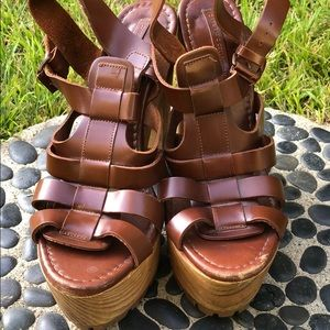 ZARA Brown Leather Platform Wooden Sandals